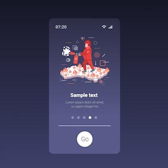 オーストラリアの危険な山火事を消火消防士火記号山火事季節の山火事地球温暖化自然災害概念オレンジ炎アイコンスマートフォン画面モバイルアプリ