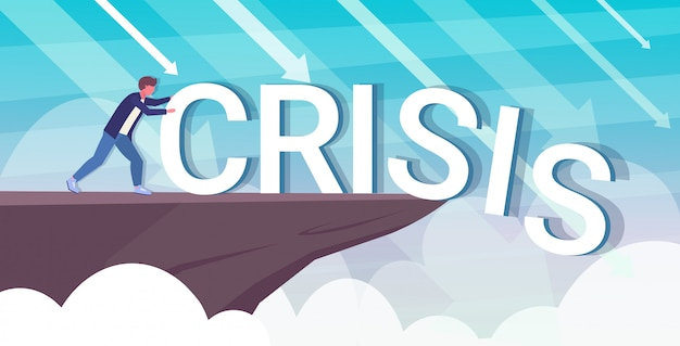 Бизнесмен толкает слово кризис в бездну проблема решение финансы свобода концепция стрелки падают горизонтальный полная длина
