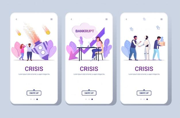 セットミックスレースビジネスマン金融危機スタートアップ失敗破産投資リスクコンセプト電話スクリーンコレクションフルレングス水平コピースペース