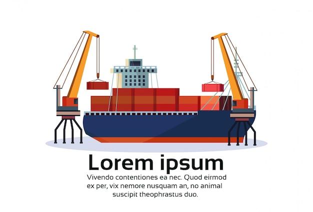 Промышленный морской порт грузовое судно грузовой кран логистика контейнер погрузка воды