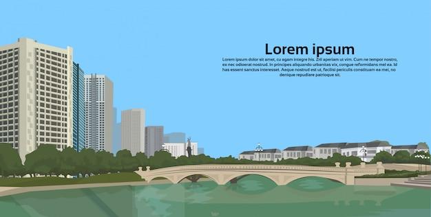 川に架かる石橋都市景観都市建物景観ビュー水平