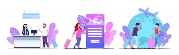 荷物チケット購入航空券チケット顧客サービス旅行概念コレクション完全な長さの水平方向の男性と女性の旅行者を設定します
