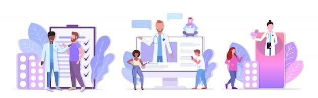 医師がコンサルティングをチェックし、薬の錠剤を与えて、レース患者の医療医学の概念のコレクションの水平方向の完全な長さを混合するように設定します