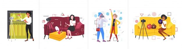Набор блоггеров, записывающих онлайн-видео с камеры на штатив, в прямом эфире, в прямом эфире, в социальных сетях, в сети, в блогах, в коллекции концепций по горизонтали