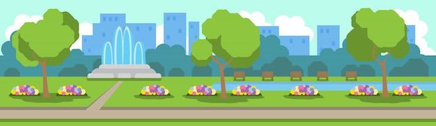 Городской парк вид зеленая лужайка цветы фонтан деревья шаблон фон плоский баннер