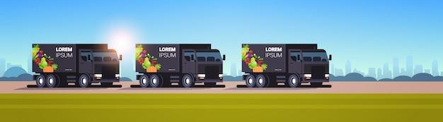 Реалистичные черные фургоны с органическими овощами на городском шоссе естественная веганская ферма служба доставки еды транспортные средства со свежими овощами городской пейзаж фон горизонтальный плоский
