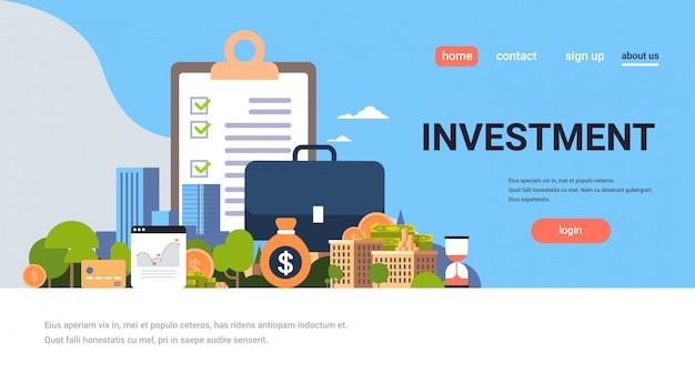 Целевая страница или веб-шаблон с иллюстрацией, инвестиционной темой