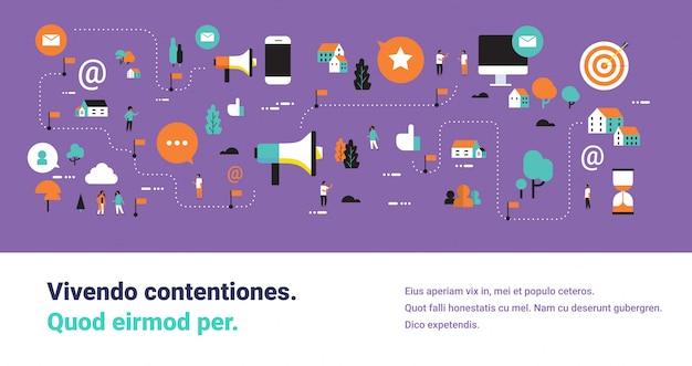Шаблон баннера с маркетинговыми элементами и иконками