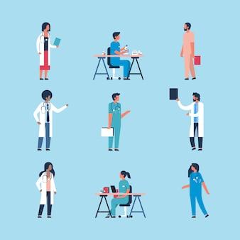 男性と女性の医師の文字のセット