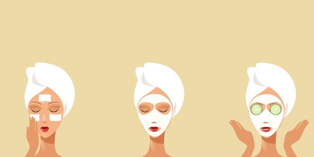 クリーニングのタオルの女の子に包まれたキュウリのフェイシャルマスクを受け取る若い女性彼女の顔のスキンケアスパトリートメントコンセプト手順ケアフェイシャルマスクの肖像画の水平を適用する方法