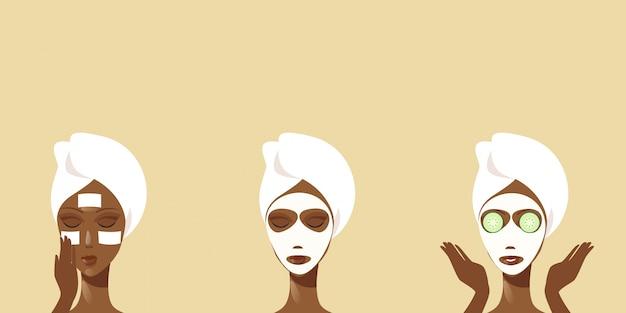 キュウリの顔のマスクを受け取った若い女性クリーニングタオルアフリカ系アメリカ人の女の子に包まれた彼女の顔のスキンケアスパトリートメントコンセプト手順を気に水平に顔のマスクの肖像画を適用する方法