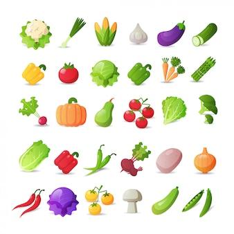 Набор иконок свежие овощи разные наклейки коллекции концепция здорового питания