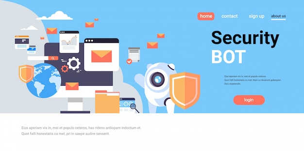セキュリティ保護ボットシールドデータベース保護アプリアクセスコンセプト水平フラットグローバルコピースペース