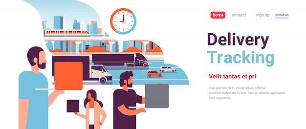 トラックトレーラー高速道路道路追跡配達貨物概念コピースペースフラット水平以上の人々