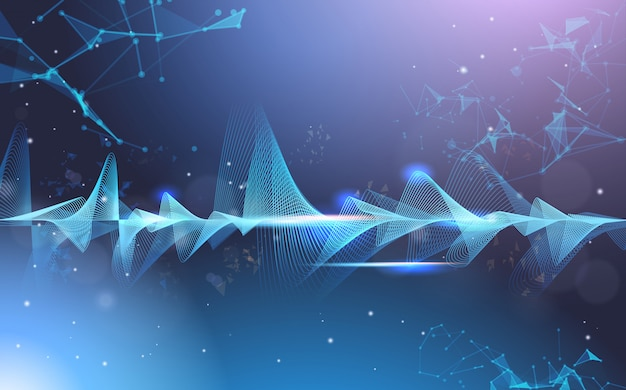 Музыка волны эквалайзер музыкальный бар темный фон цифровой волна технология концепция горизонтальный