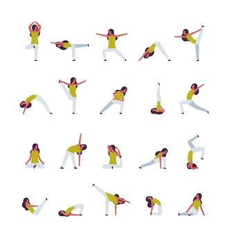 Комплекс женщина делает упражнения йога женский мультипликационный персонаж фитнес деятельность изолированные разнообразие позы здоровый образ жизни концепция полная длина плоский