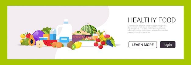 Свежие фрукты овощи растение на основе молока сырье органические продукты состав естественный здоровый еда концепция веганский белок горизонтальный копия