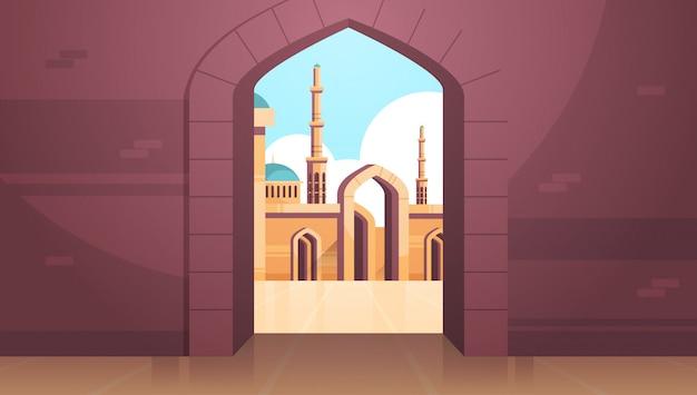 Набави мечеть здание архитектура внешний вид через арку религия концепция мусульманский городской пейзаж горизонтальный плоский