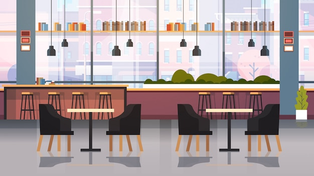 Современное кафе интерьер пусто нет людей ресторан с мебелью кофе точка жир