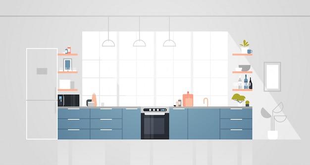 家具付きのモダンなキッチン空の人々の家の部屋のインテリアフラット水平
