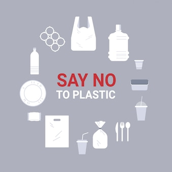 プラスチックのアイコンで作られた別の使い捨てオブジェクトを設定しますサークルコレクション汚染リサイクル生態問題の周りに署名地球概念フラットイラストを保存