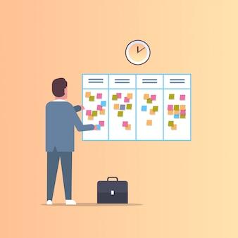 実業家彼の仕事の議題を毎週の会議スケジュールスケジュールタスクボード付箋ビジネス計画ニュースイベントリマインダーとタイムテーブルコンセプト全長フラット