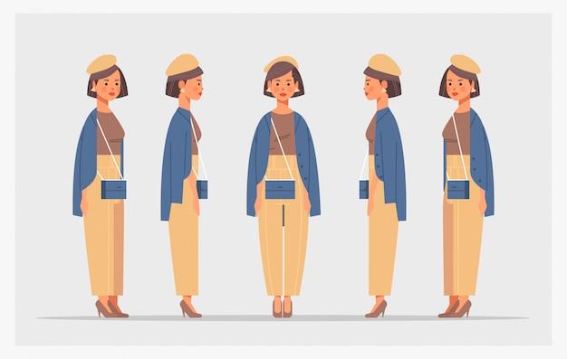 カジュアルな女性のフロントサイドビューの女性キャラクターのアニメーション全体のさまざまなビューを設定する