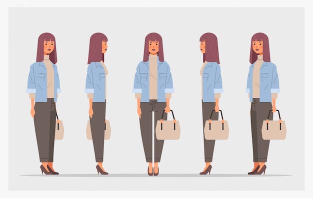 ハンドバッグのフロントサイドビューの女性キャラクターのアニメーションのさまざまなビューで実業家を設定します。