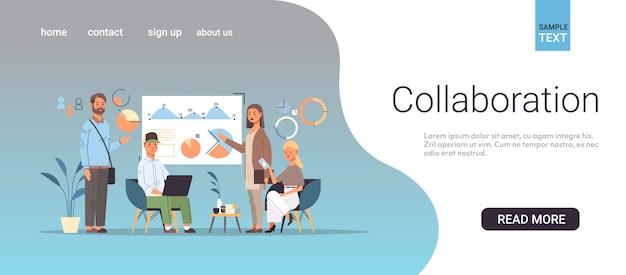 Бизнесмены группы анализ финансовых граф деловых людей работать вместе работа в команде сотрудничество