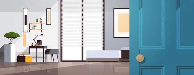 На рабочем месте кабинет в спальне пусто нет людей квартира интерьер комната с мебелью горизонтальный