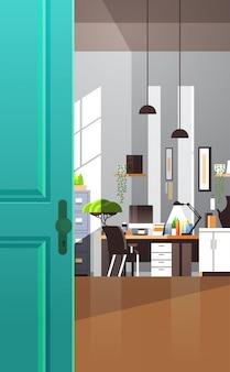 На рабочем месте кабинет пусто нет людей квартира интерьер комната с мебелью вертикаль