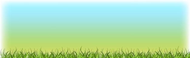青空自然春の風景の背景の水平方向の緑の芝生の芝生