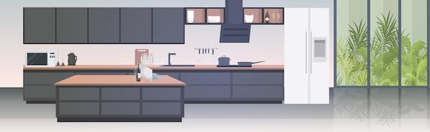 Современная кухня интерьер пусто нет людей дом комната с мебелью горизонтальная