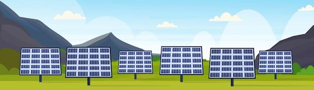 ソーラーパネルフィールドクリーンな代替エネルギー源再生可能ステーション太陽光発電地区のコンセプト自然の風景山背景水平方向のバナー