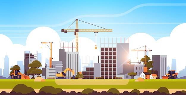 Современная строительная площадка с кранами трактора и бульдозера недостроенное здание экстерьер закат фон плоский горизонтальный