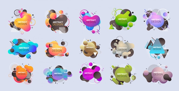 Установить динамический цветной формы градиент абстрактные баннеры течет жидкость фигуры текучий цвет значки современный графический элемент горизонтальный