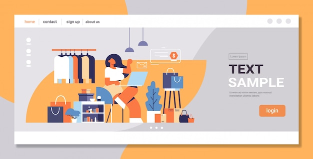Женщина с ноутбуком с помощью компьютерного приложения интернет-магазины концепция большой магазин модной одежды бутик женской одежды интерьер квартира полная длина копия пространство