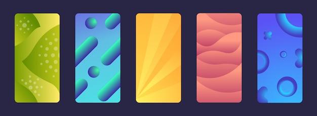 流れるネオングラデーション流体色幾何学的な抽象的な背景動的液体形状モバイル画面コレクションを設定します。