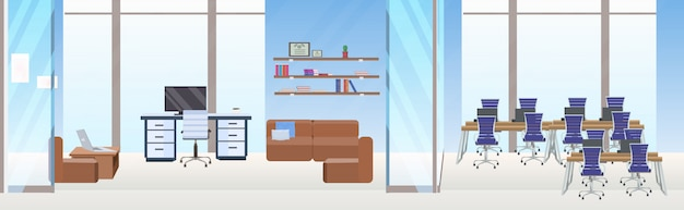 Пусто нет людей креативная совместная рабочая зона рабочее пространство центр современное рабочее пространство конференция учебная комната современный офис интерьер квартира горизонтальный баннер