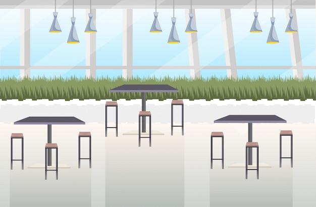 Современное кафе интерьер пустое нет людей ресторан с мебелью плоская горизонтальная