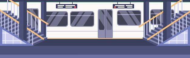 Поезд метро железнодорожный метро станция пустой люди платформа город транспорт концепция плоский горизонтальный векторная иллюстрация