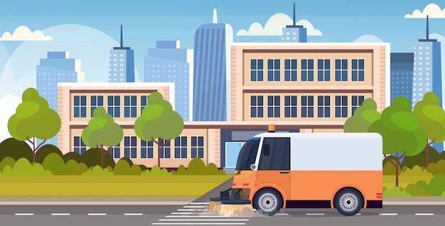 Дворник машина машина процесс очистки промышленный транспортное средство городской дорожный сервис концепция современный городской пейзаж фон горизонтальный плоский
