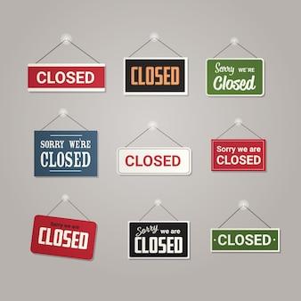 ビジネスオフィスストアショップやレストランの外にぶら下がっているカラフルな閉じた標識を設定します