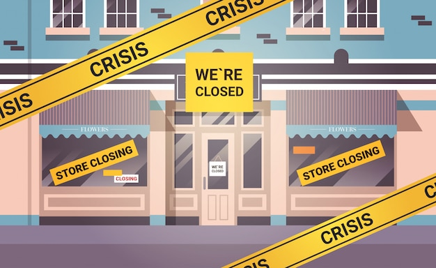Пустой закрытый цветочный магазин с желтой лентой банкротства закрытие карантин пандемии