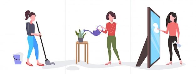 Набор женщина уборщик вытирая стекло зеркало мыть пол пол поливает растения девушка делает домашнее хозяйство разные домашнее хозяйство коллекция полная длина горизонтальный