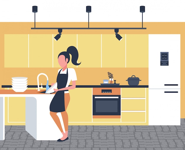お皿を洗う女性主婦拭くプレート食器洗いコンセプト女の子エプロンで家事モダンなキッチンインテリア水平全長
