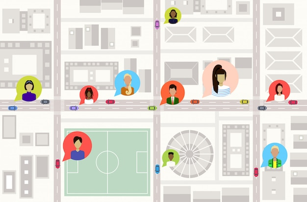 Вид с высоты птичьего полета или план центра города современные городские здания улицы и автомобили на дороге пользователи профиль аватары социальная сеть коммуникация концепция городская карта городской пейзаж верхний угол зрения горизонтальный