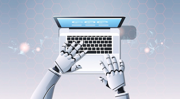 ラップトップコンピューターのタイピングを使用してロボットの手
