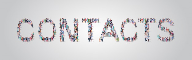 連絡先の単語の形で集まる人々の群衆