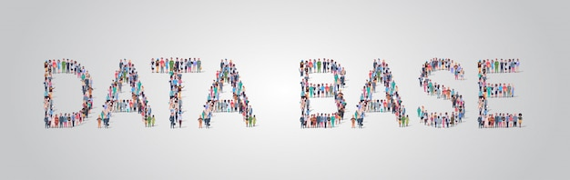 データベースの単語の形で集まる人々の群衆